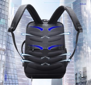 Дорожный рюкзак для ноутбука 15.6 BOPAI 61-19011 черный дышащая спинка рюкзака за счет 9 ребер жесткости