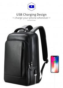Кожаный деловой рюкзак BOPAI 61-16311 черный с USB разъемом