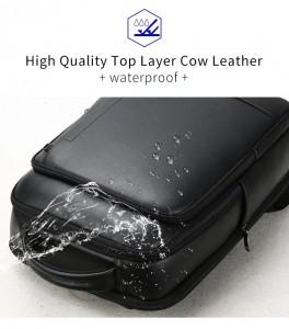 Кожаный деловой рюкзак BOPAI 61-16311 черный водоотталкивающая пропитка