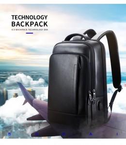 Кожаный рюкзак BOPAI 61-16311 идеален для перелетов, путешествий
