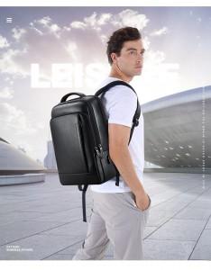 Кожаный рюкзак BOPAI 61-16311 надет на плечи мужчины