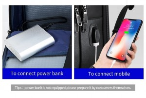 Кожаный деловой рюкзак BOPAI 61-16311 черный USB провод идет в комплекте