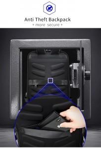 Кожаный деловой рюкзак BOPAI 61-16311 черный потайной карман на спинке рюкзака