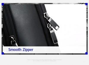 Кожаный деловой рюкзак BOPAI 61-16311 надежные молнии и замки
