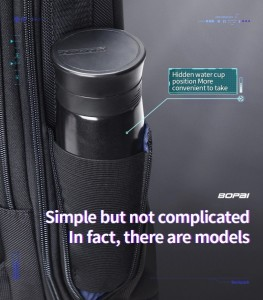 Тонкий рюкзак для ноутбука 15.6 BOPAI 61-39911 фото кармана сбоку