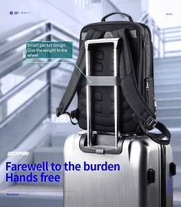 Тонкий рюкзак для ноутбука 15.6 BOPAI 61-39911 легко помещается на ручску чемодана