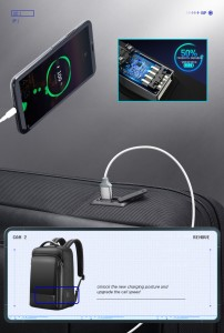 Мужской деловой рюкзак BOPAI 61-53111 черный USB разъем нового поколения