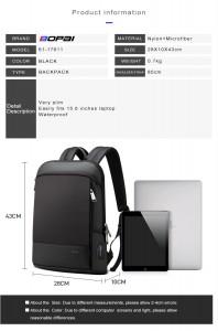 Рюкзак тонкий для ноутбука 15.6 Bopai 61-17611 черный