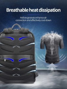 Кожаный тонкий рюкзак Bopai 61-52711 черный дышащая спинка рюкзака