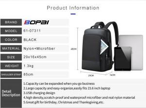 Мужской деловой рюкзак BOPAI 61-07311 фото с характеристиками