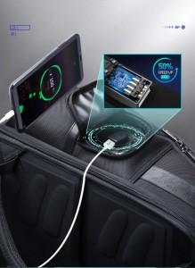Дорожный рюкзак 2 в 1 для ноутбука 15.6 BOPAI 61-17011 черный в боковом кармане на молнии USB разъем