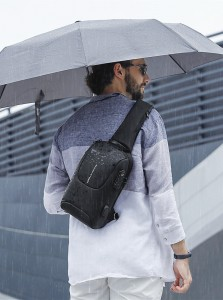 Рюкзак однолямочный Mark Ryden MR7039 черный не промокает в дождь