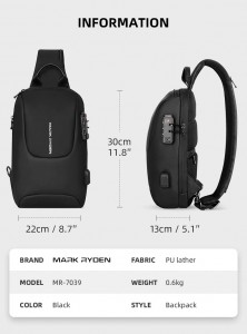 Рюкзак однолямочный Mark Ryden MR7039 черный фото с характеристиками