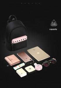 Маленький женский черный рюкзак Bopai 62-19931 объем вмещаемых вещей