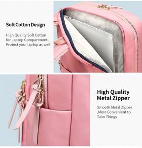 Женский деловой рюкзак для ноутбука 14 BOPAI 62-51316 розовый карман для ноутбука и бутылки воды