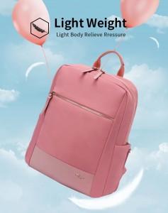 Женский деловой рюкзак для ноутбука 14 BOPAI 62-51316 розовый весит всего 620 грамм