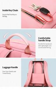 Женский деловой рюкзак для ноутбука 14 BOPAI 62-51316 розовый детали