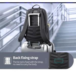 Мужской деловой рюкзак Bopai 61-58911 легко крепится на чемодан