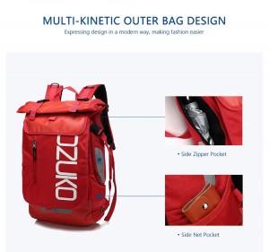 Молодежный модный рюкзак  OZUKO 8020 красный фото деталей