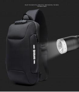 Рюкзак однолямочный OZUKO 9223L со светоотражающим логотипом