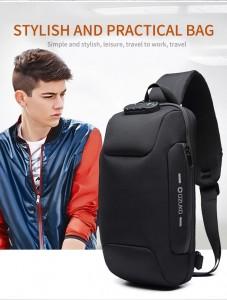 Мужской однолямочный рюкзак OZUKO 9223L черный молодежный стиль