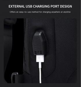 Мужской однолямочный рюкзак OZUKO 9223L  USB разъем крупным планом