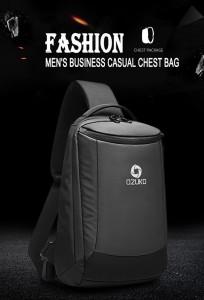 Рюкзак однолямочный мужской OZUKO 9078 черный удобная и современная модель