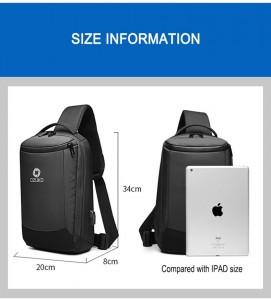 Рюкзак однолямочный мужской OZUKO 9078 черный фото с размерами