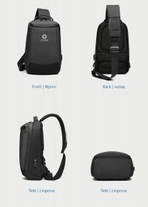 Рюкзак однолямочный мужской OZUKO 9078 черный в разных проекциях
