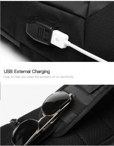 Рюкзак однолямочный OZUKO 9262 USB разъем, фиксатор для очков