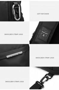 Рюкзак однолямочный OZUKO 9262 USB разъем, фото деталей