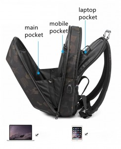 Каркасный рюкзак Ozuko 9205 фото основных отделений