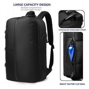 Сумка-рюкзак дорожная OZUKO 9291 черная с деталями