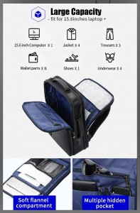 Бизнес рюкзак с нагрудной сумкой 15.6 BOPAI 61-14311A основное отделение