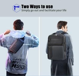 Бизнес рюкзак с нагрудной сумкой 15.6 BOPAI 61-14311A черный на мужчине