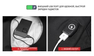 Фото внешнего USB разьема Рюкзак ozuko 9080 фото