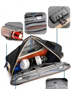 основное отделение-органайзер рюкзак антивор с кодовым замком для ноутбука 17