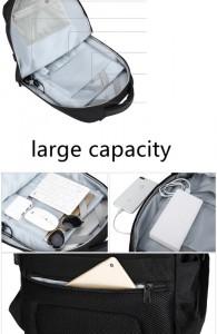 рюкзак ozuko 9200 черный детали, кармашки