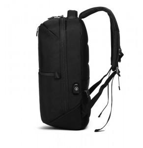 рюкзак ozuko 9200 черный фото сбоку c USB разъемом