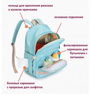 рюкзак для мамы и малыша BAORDAI IP177 голубой детали, основное отделение