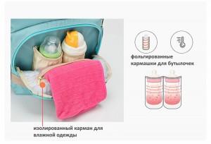 рюкзак для мамы и малыша BAORDAI IP177 голубой фольгированные кармашки для бутылочек, карма для влажных вещей