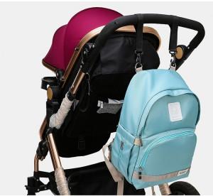 фото рюкзака для мамы и малыша BAORDAI IP177 голубой на детской коляске