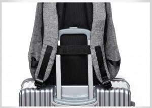 Рюкзак антивор TUGUAN серый TG1758, лента для креплению рюкзака на ручку чемодана