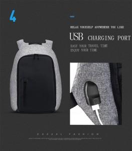 Рюкзак антивор TUGUAN серый TG1758, USB разъем