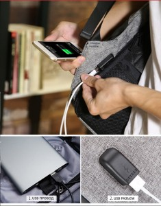 Рюкзак антивор Mark Ryden mr5815 черный фото USB разъем и USB провод