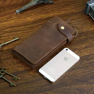 Мужской кожаный кошелек ручной работыJMD 8031R коричневый фото по сравнению с моб. телефоном