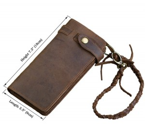 Мужской кожаный кошелек ручной работыJMD 8031R коричневый размеры