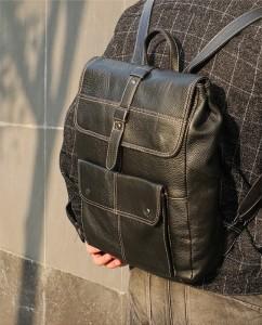 Рюкзак мужской кожаный J.M.D. 7335А черный фото 1 на модели