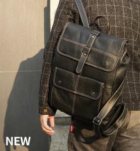 Рюкзак мужской кожаный J.M.D. 7335А черный фото 2 на модели