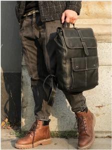 Рюкзак мужской кожаный J.M.D. 7335А черный фото 3 на модели